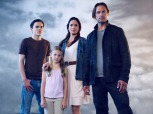 COLONY -- Season:1 -- Pictured: (l-r) Alex Neustaedter as Bram Bowman, Isabella Crovetti-Cramp as Grace Sullivan, Sarah Wayne Callies as Katie Bowman, Josh Holloway as Will Bowman -- (Photo by: Justin Stephens/USA Network)