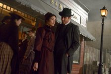 "TIMELESS -- ""The World's Columbian Exposition"" Episode 110 -- Pictured: (l-r) Abigail Spencer as Lucy Preston, Goran Visnjic as Garcia Flynn -- (Photo by: Sergei Bachlakov/NBC)"