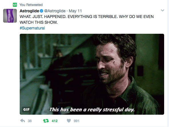 SPN_Everything is terrible tweet
