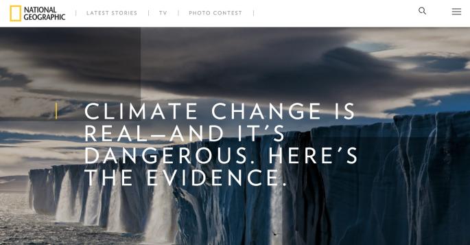Nat Geo's homepage climate change