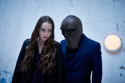 """CHANNEL ZERO: NO END HOUSE -- """"This Isn't Real"""" Episode 107 -- Pictured: (l-r) Amy Forsyth as Margot, The Masked Figure -- (Photo by: Allen Fraser/Syfy)"""