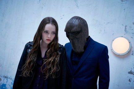 "CHANNEL ZERO: NO END HOUSE -- ""This Isn't Real"" Episode 107 -- Pictured: (l-r) Amy Forsyth as Margot, The Masked Figure -- (Photo by: Allen Fraser/Syfy)"