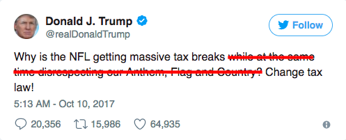 trump tweet nfl tax