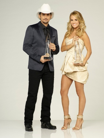 """THE 49th ANNUAL CMA AWARDS - Brad Paisley and Carrie Underwood host """"Country Music's Biggest Night(tm)"""" live WEDNESDAY, NOVEMBER 4 (8:00-11:00 p.m., ET) on the ABC Television Network from the Bridgestone Arena in Nashville. (ABC/Bob D'Amico)"""