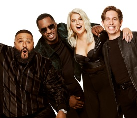 "THE FOUR: BATTLE FOR STARDOM: Panelists L-R: DJ Khalid, Sean ""Diddy"" Combs, Meghan Trainor and Charlie Walk. Six-episode event THE FOUR: BATTLE FOR STARDOM premieres Thursday, Jan. 4 (8:00-10:00 PM ET/PT) on FOX. CR: Brian Bowen Smith / FOX. © 2017 FOX Broadcasting."