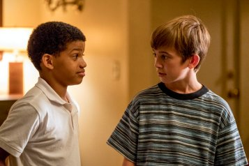 "THIS IS US -- ""Kamsahamnida"" Episode 306 -- Pictured: (l-r) Lonnie Chavis as Young Randall, Parker Bates as Young Kevin -- (Photo by: Ron Batzdorff/NBC)"