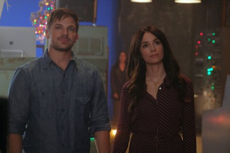 "TIMELESS -- ""The Miracle of Christmas Part II"" Episode 212 -- Pictured: (l-r) Matt Lanter as Wyatt Logan, Abigail Spencer as Lucy Preston -- (Photo by: Darren Michaels/Sony/NBC)"