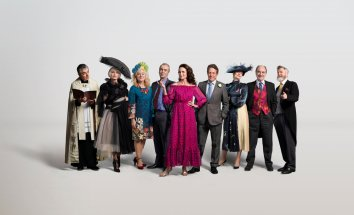"""THE RED NOSE DAY SPECIAL -- """"One Red Nose Day and a Wedding"""" -- Pictured: Rowan Atkinson as Father Gerald, Kristin Scott Thomas as Fiona, Sophie Thompson as Lydia, John Hannah as Matthew, Andie MacDowell as Carrie, Hugh Grant as Charles, Anna Chancellor as Henrietta, David Haig as Bernard, James Fleet as Tom -- (Photo by: Greg Williams)"""